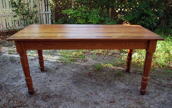 Rustic antique wood farmhouse dining table