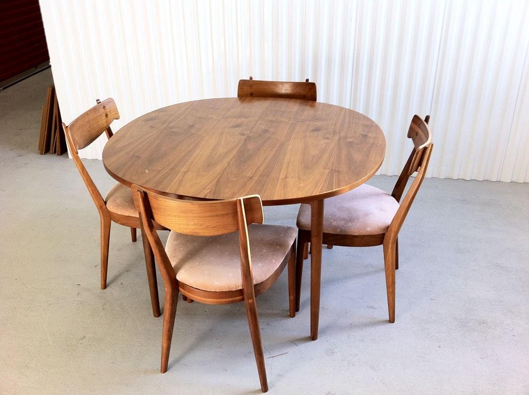 Mid Century Modern Drexel Declaration Dining Set With 4 Walnut