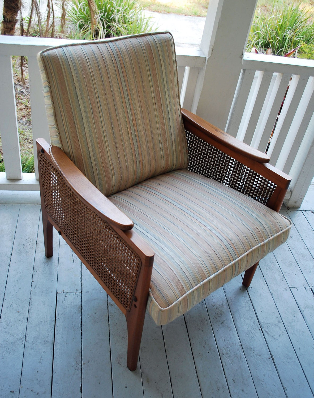 Danish Modern Teak Wicker Chair