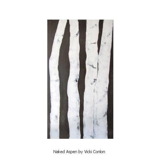 Reserved for Ashlie - Naked Birch Aspen Tree Painting Original Acrylic Art by Vicki Conlon