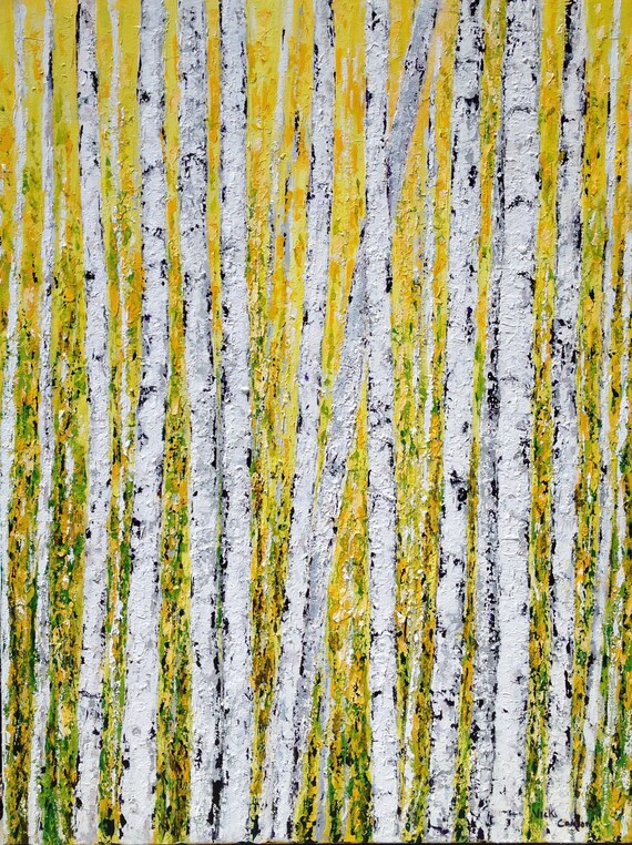 Aspen Birch Tree Original Acrylic Painting on 36 x 48 Canvas  by vickisart