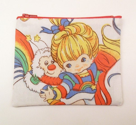 Rainbow Brite Large Zipper Pouch - Make to Order -  Coin Purse Wallet -- made with vintage Rainbow Brite fabric