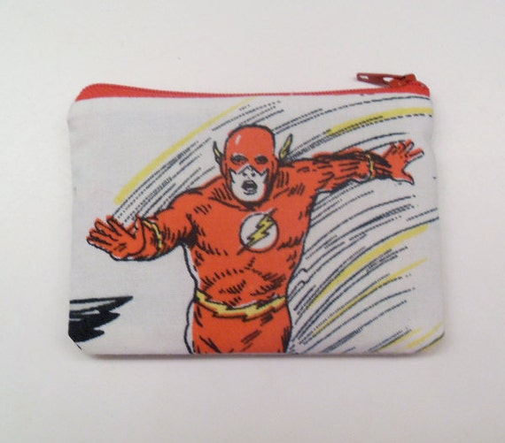 Superhero Zipper Pouch - Small Zip Pouch Coin Purse Wallet - Logo Series no.2: In A Flash - made with vintage upcycled superhero fabric