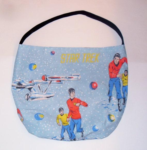 Star Trek Purse - Shoulder Bag Style - Boldly Go - made with vintage Star Trek: TOS fabric - upcycled