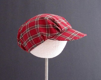 Handmade Childrens Hat - Racer Red -  Red, Black and Tan Plaid Hat  - Newsboy Style Hat - Sizes Small, Medium, Large and X Large