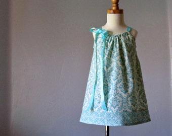 Girls Aqua Pillowcase Dress -  Aqua and Cream Damask Sun Dress - Girls Summer Dress -  Size 12m, 18m, 2T, 3T, 4T, 5, 6, 8, or 10