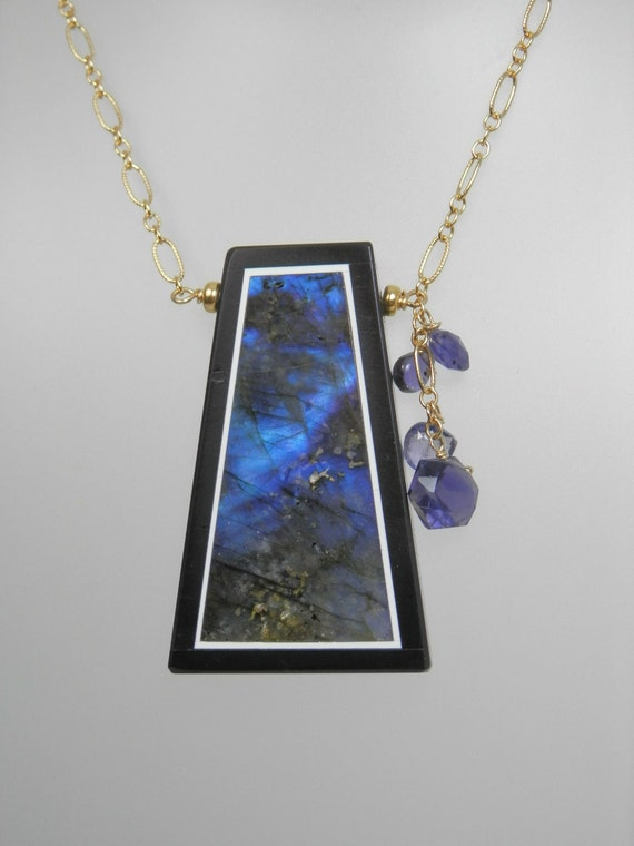 Framed Labradorite Pendant with Iolite  on Gold Filled Chain