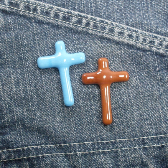 Glass Pocket Cross blue and brown set of 2
