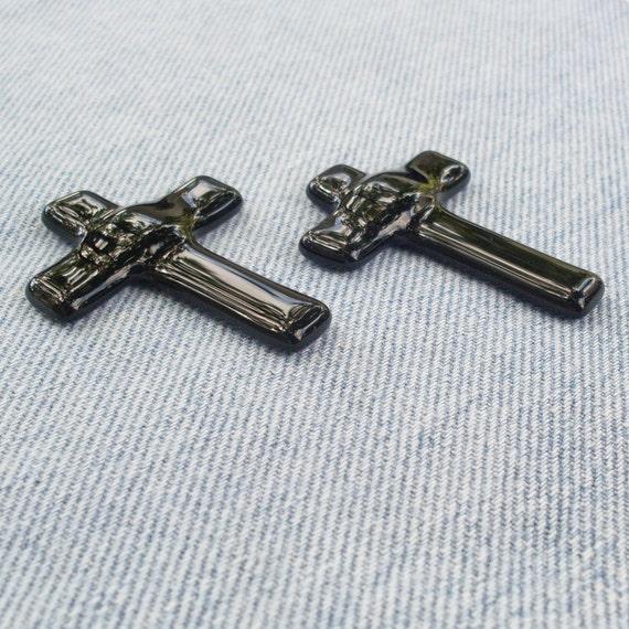 Purple Fused Glass Pocket Cross - set of 2