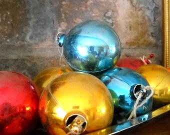 Shabby Vintage Christmas Ball Ornaments / Lot of 8