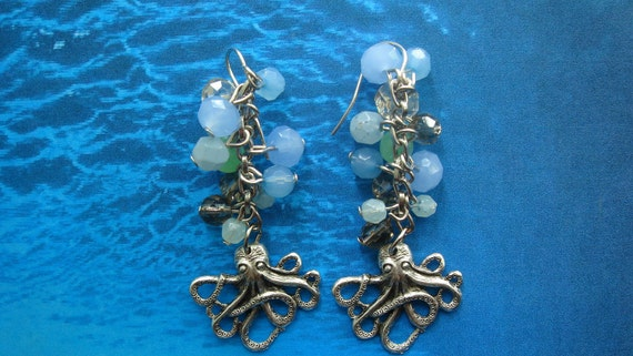 Silver Octopus Earrings with Sea Glass Bubbles