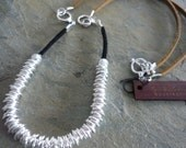 Silver links necklace, silver links leather necklace, silver beaded necklace, silver leather necklace, silver beaded leather necklace