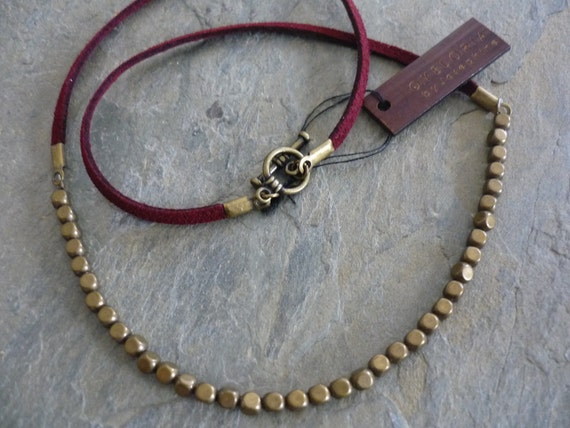 Brass beaded necklace, burgundy leather beaded necklace, brass beaded burgundy necklace, burgundy suede necklace, brass necklace