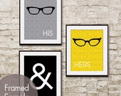 His and Hers (glasses) -Set of 3 - Art Prints (Featured in Dolphin Grey, Black and Canary)