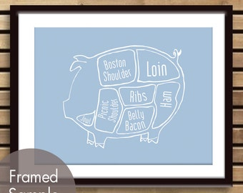 Pork Butcher Diagram of a Pig - Art Print (featured in Blue Icing) (Buy 3 and get One Free)