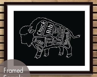 Buffalo Butcher Chart (Exotic Meats Collection) - Art Print (featured in Blackl) (Buy 3 and get One Free)