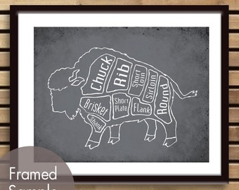 Buffalo Butcher Chart (Exotic Meats Collection) - Art Print (featured in Charcoal) (Buy 3 and get One Free)