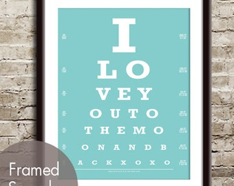 I Love You to the Moon and Back (xoxo) (Eye Chart) Art Print (Featured in Happy Blue) Buy 3 Get One Free