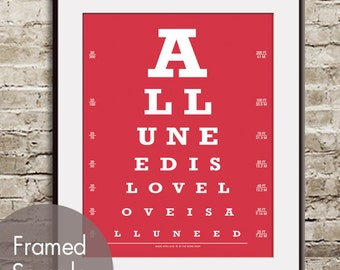 All You Need is Love, Love is All You Need (Eye Chart) ART Print (Featured in Barberry Red) Buy 3 Get One Free