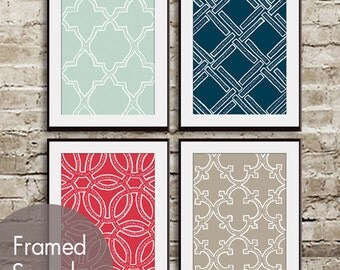 Eat, Drink, Love, Live Geometric Patterns - Set of 4 - Art Prints (Featured in Silver Sage, Navy, Barberry Red and Truffle Brown)
