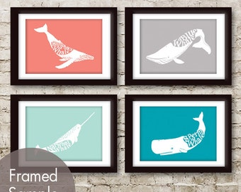 Whale Words Series - Set of 4 - Art Prints (Featured in Coral Rose, Cloud Grey, Duck Egg and Oceanic Blue (Customizable Colors)