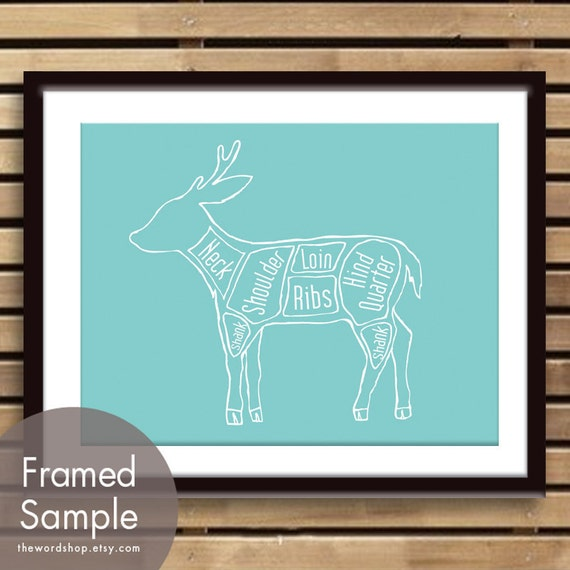 Venison Butcher Chart (Exotic Meats Collection) - Art Print (featured in Happy Blue) (Buy 3 and get One Free)