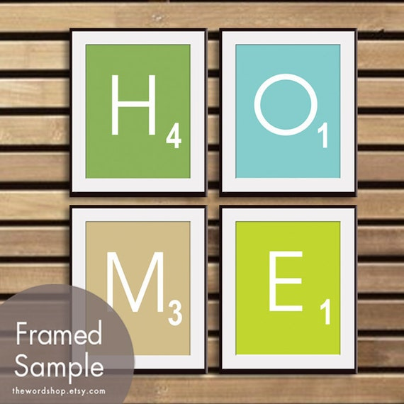 HOME - Set of 4 - ART Prints (Featured in Grass Green, Happy Blue, French Grey and Lime Zest) Modern Game Board