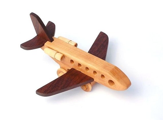 Wooden Toy Airplane Jet Plane All Hardwood by woodentoystudio