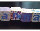 Shabby Chic Wooden PERSONALIZED HANNAH BLOCKS, baby shower, photo prob, maternity, nursery, children, toddler, baby, gifts