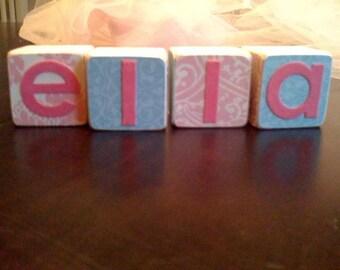 Shabby Chic wooden personalized blocks - custom nursery decor - nursery art - nursery wall name - baby name gifts - photo props
