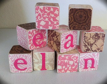 Personalized name blocks - baby Wood name blocks custom kids decor -Personalized nursery photo props baby shower - Personalized gifts party