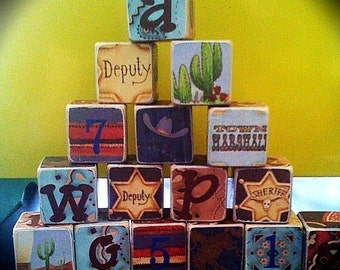 VINTAGE COWBOY, counting and word building wood BLOCKS, Personalized and Customized kids decor toys - cowboy decor - personalized cowboy