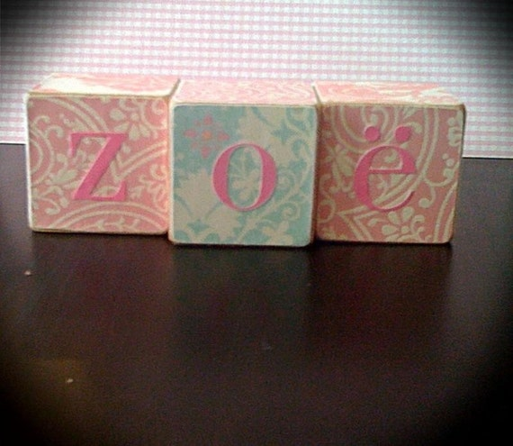 PERSONALIZED WOOD BLOCKS, Zoe shabby chic, gifts, children, birthday, baby showers, maternity pictures, nursery decor, photograpy props