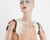 White versatile wings - feather shrug shoulder harness and collars