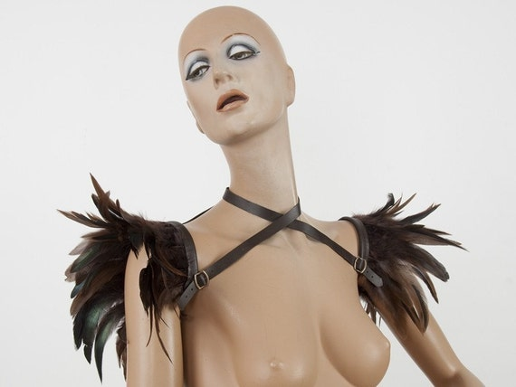 Brown versatile wings - feather shoulder harness, shrug and collar Shoulder accessory