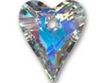 2  Swarovski Crystal AB Heart Pendants or Charms - Wildhearts - 12MM - Great for Earrings