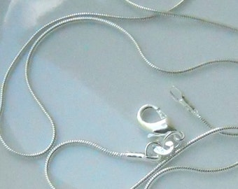 3 - 22 inch silver plated 1mm snake chain