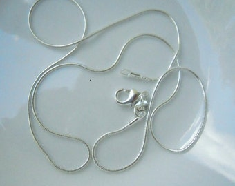 3 - 20 inch silver plated 1mm snake chain
