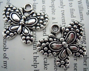 2-  Cute Raised Pattern Butterfly Pendants or Charms, Silver Butterfly charms