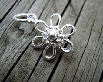 Sterling Silver Daisy Pendant or charm with Bail - Supply