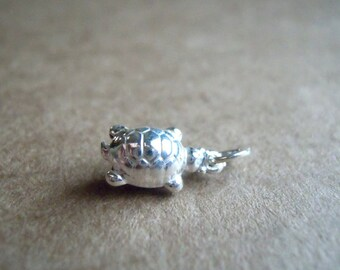 Sterling Silver Chubby Little Turtle Pendant or Charm