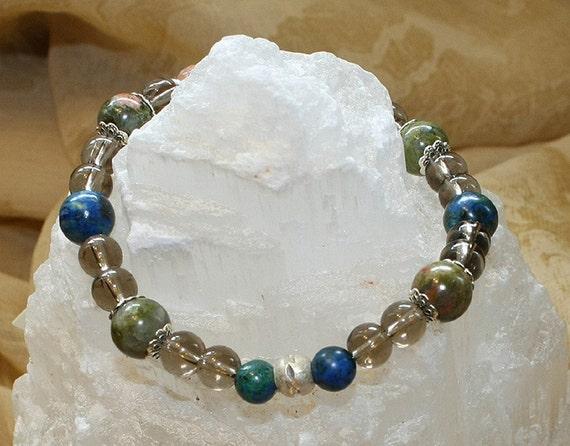 Letting It Go Gemstone Bracelet with Smoky Quartz, Unakite and Malachite/Azurite Beads