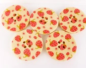 10 x Wooden Buttons with Strawberry Pattern 30mm for Jewelry and Craft Projects