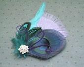 Bridal Fascinator Head Piece, Feather Hair PIece, Wedding Hair Accessory, peacock feather hair clip, purple, blue, teal, aqua - LILAC DREAMS
