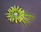 Bridal feather Facinator, Bridal Hair clip, wedding accessory, green, lime, ostrich - GREEN DAISY