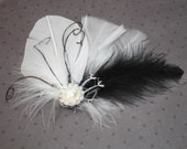 Bridal Feather Hair Facinator, wedding hair accessory, White, black, feather hair clips, bride - Black and White Angel