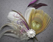 feather, fascinator, wedding, hair, accessories, Peacock, bridal, feathered, head piece, green, lime, purple, gra, ivory - JUNGLE LOVE