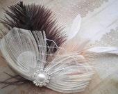 Wedding, Hair, Peacock, Ivory, feather, Accessory, Bridal, Fascinator, Head, Piece, Purple, Plum, eggplant - DEEP PURPLE DREAMS