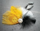 Peacock Feather Hair Clip, Bridal Fascinator Head Piece, Wedding Hair Accessories, yellow, black, gray, grey, Peacockpixys - BEEHIVE