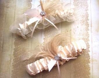 Ivory Garter Set - Satin ivory garter set with cream and ivory feathers and rhinestone jewel, wedding garters